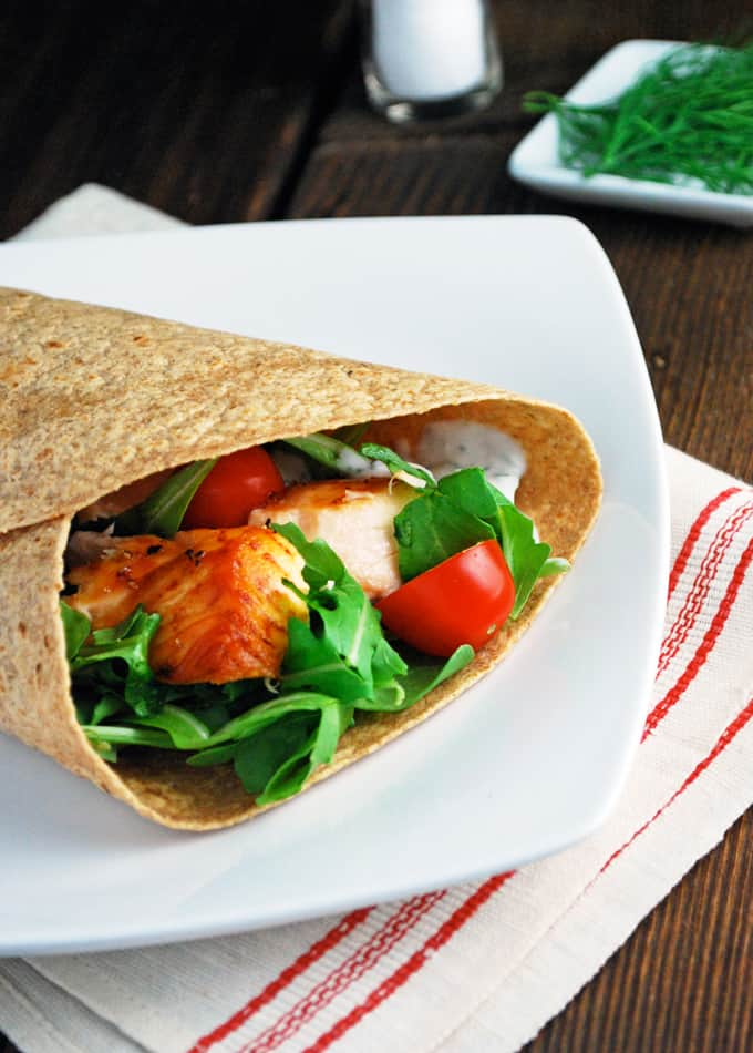 Lemon Dill Salmon Wraps - This will be my easy, healthy lunch!