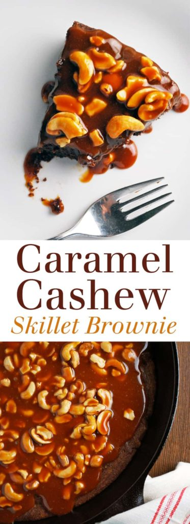 Caramel Cashew Skillet Brownies - Gooey caramel, crunchy nuts, and rich chocolate brownie. This is everything I love in a brownie! Full recipe at theliveinkitchen.com @liveinkitchen