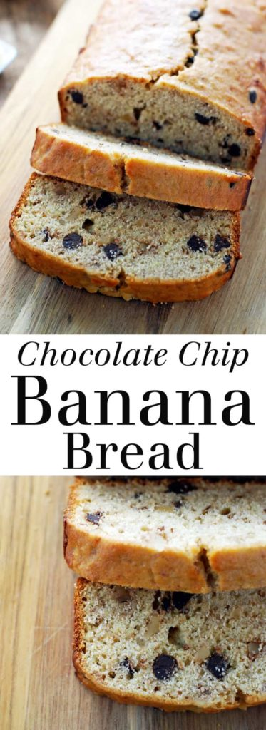 Chocolate Chip Banana Bread - Banana and chocolate are a match made in heaven! This recipe adds walnuts for extra protein and texture. I love this spread with a thick layer of peanut butter! Full recipe at theliveinkitchen.com @liveinkitchen