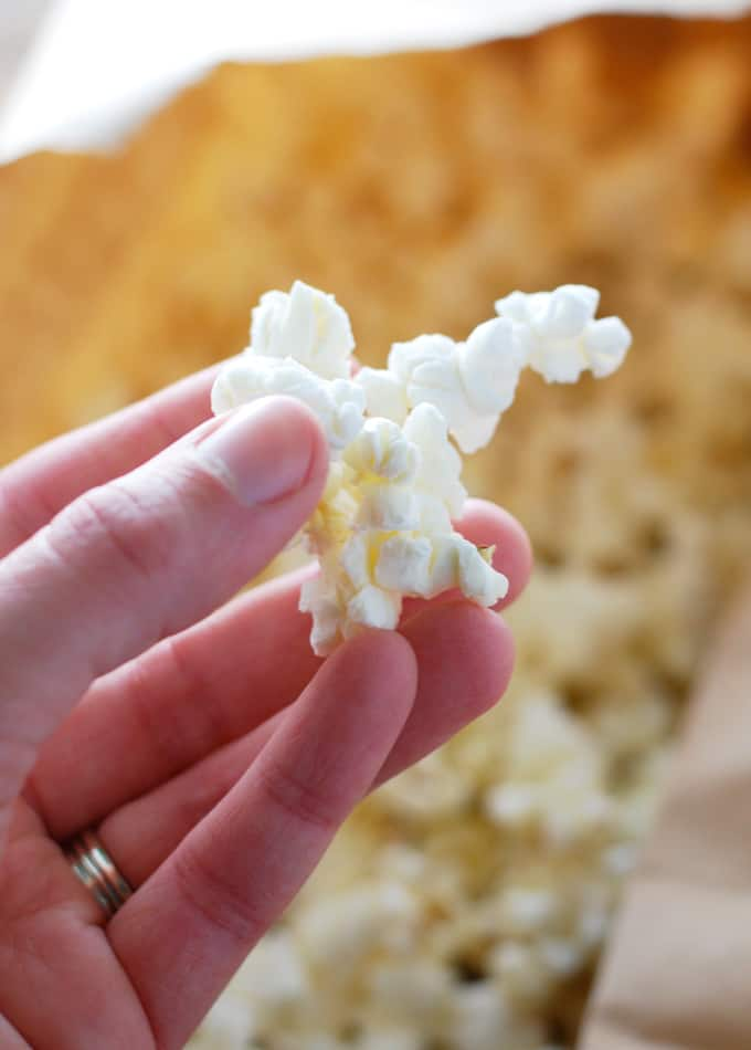 a hand holding popcorn