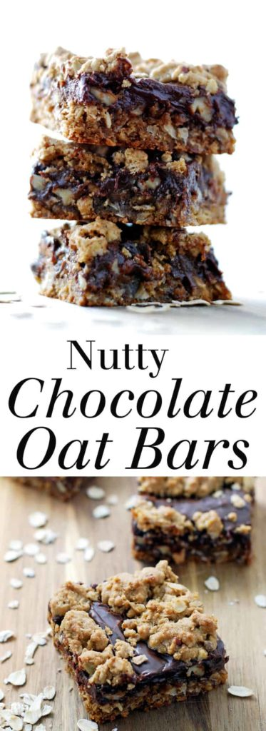 Nutty Chocolate Oat Bars - A rich, hearty treat made with nuts, oats, and of plenty of chocolate! Full recipe at theliveinkitchen.com @liveinkitchen