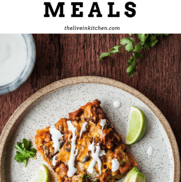 "photo of stacked veggie enchiladas with the text ""vegetarian freezer meals"""
