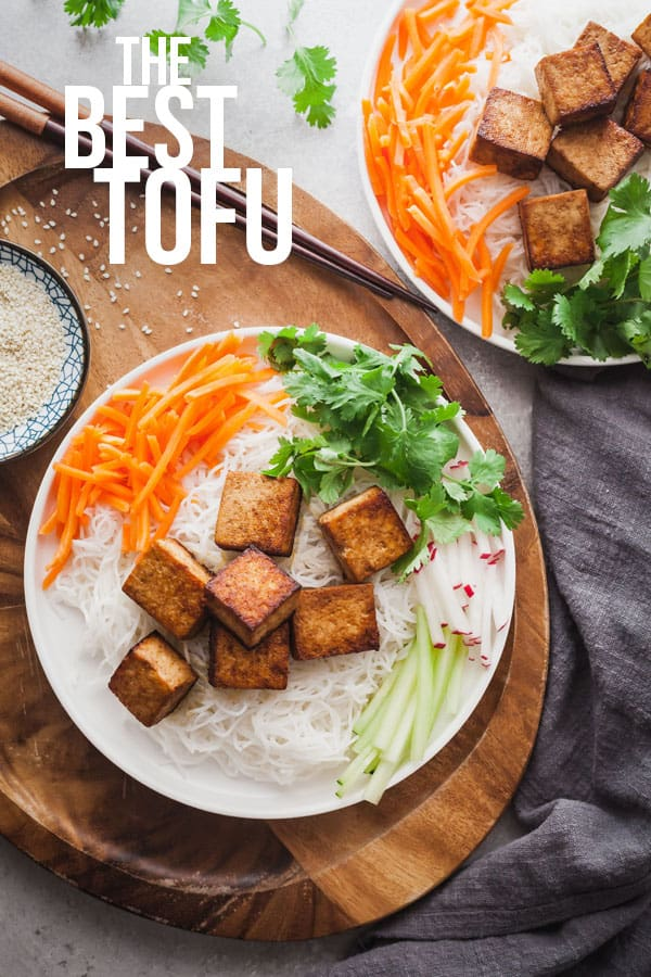 pinterest image for the best tofu recipe