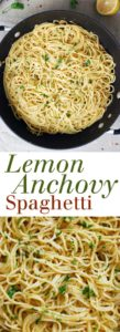 Lemon Anchovy Spaghetti - This super simple dish is going to be your new go-to weeknight meal! Full recipe at theliveinkitchen.com