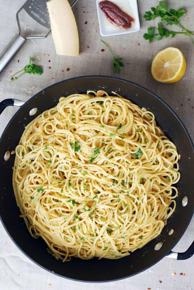 a pan of anchovy lemon spaghetti