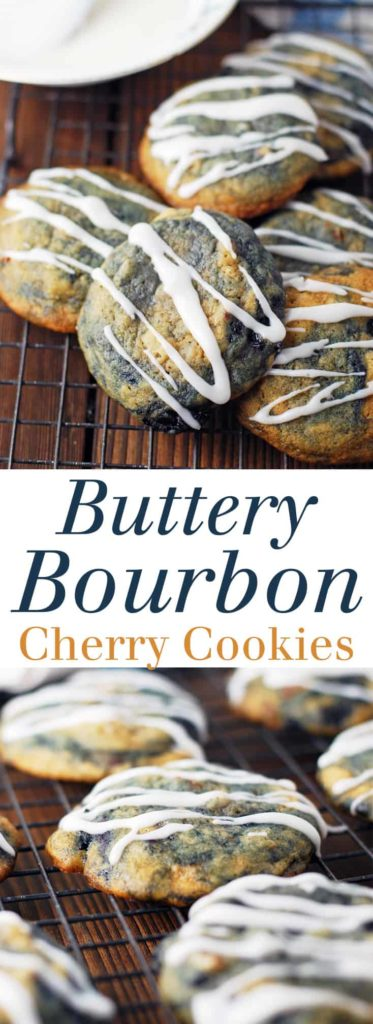 Buttery Bourbon Cherry Cookies - I can't stop eating these cookies! Rich and buttery, nutty and boozy, sweet and delicious!