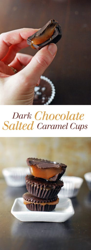 a collage image of dark chocolate salted caramel cups