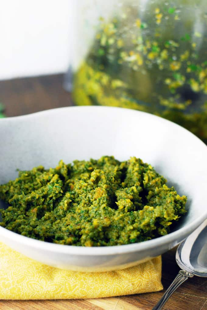 Butternut Squash and Sage Pesto - Creamy, healthy, and delicious! Full recipe at theliveinkitchen.com