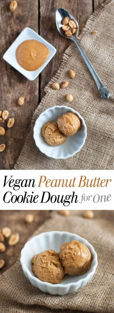 Vegan Peanut Butter Cookie Dough for One - Five ingredients and five minutes are all you need for this simple healthy treat! Full recipe at theliveinkitchen.com
