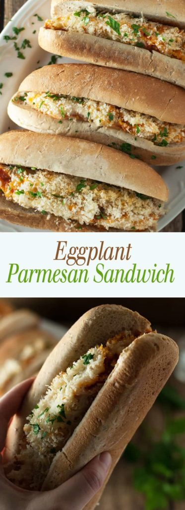 Eggplant Parmesan Sandwich - This savory sandwich is full of veggies and melty cheese! Full recipe at theliveinkitchen.com