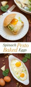 Spinach Pesto Baked Eggs - This is a perfectly balanced meal that is full of flavor! theliveinkitchen.com