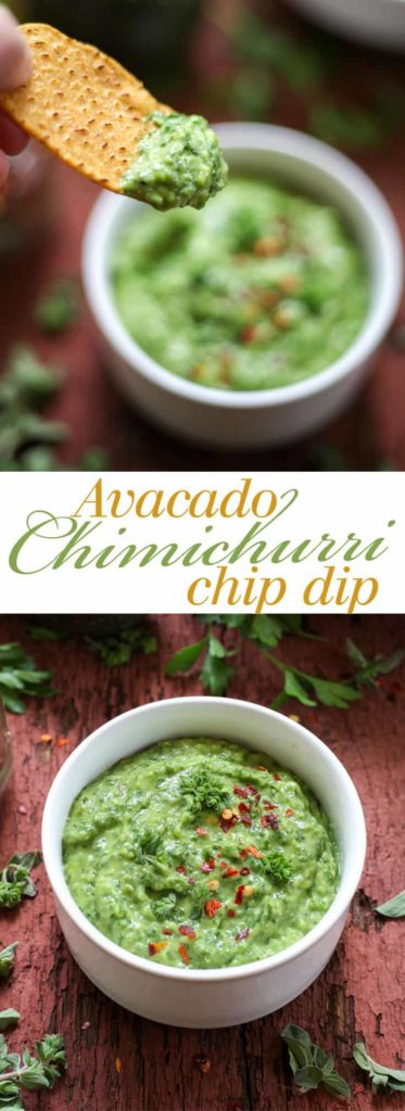 Avocado Chimichurri Chip Dip - Everything you love about chimichurri in dip form! I can't stop eating this. Full recipe at theliveinkitchen.com