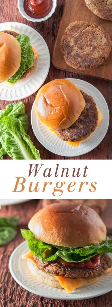Walnut Burgers - These burgers are juicy, meat-free, and bean-free! Full recipe at theliveinkitchen.com