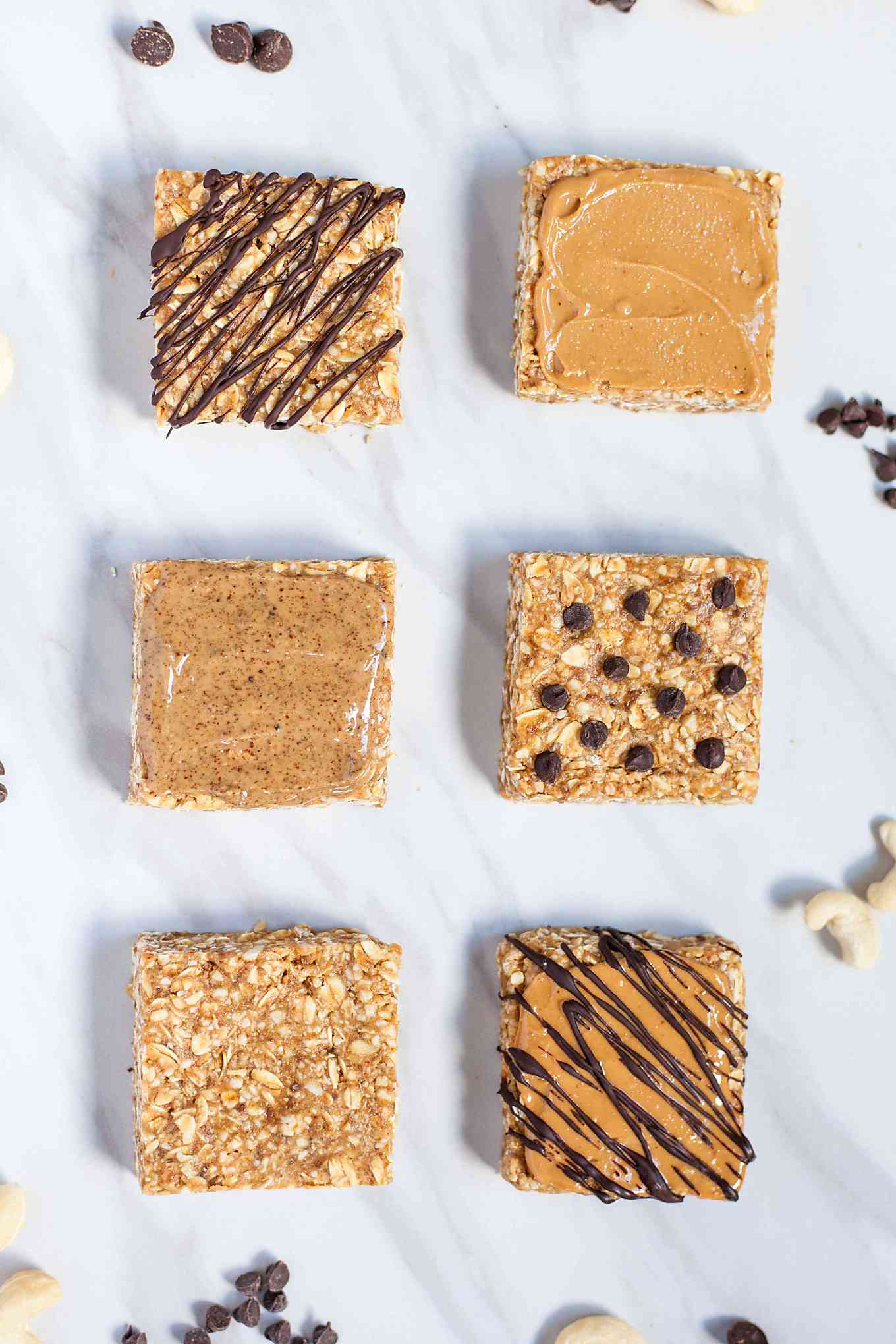 six cashew butter granola bars with different toppings