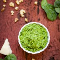 Spinach Pesto - Bright, fresh pesto that's easy to make and full of flavor! theliveinkitchen.com