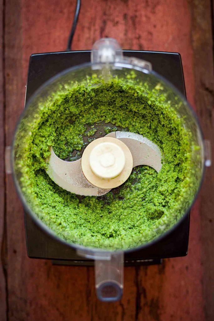 spinach pesto in a food processor