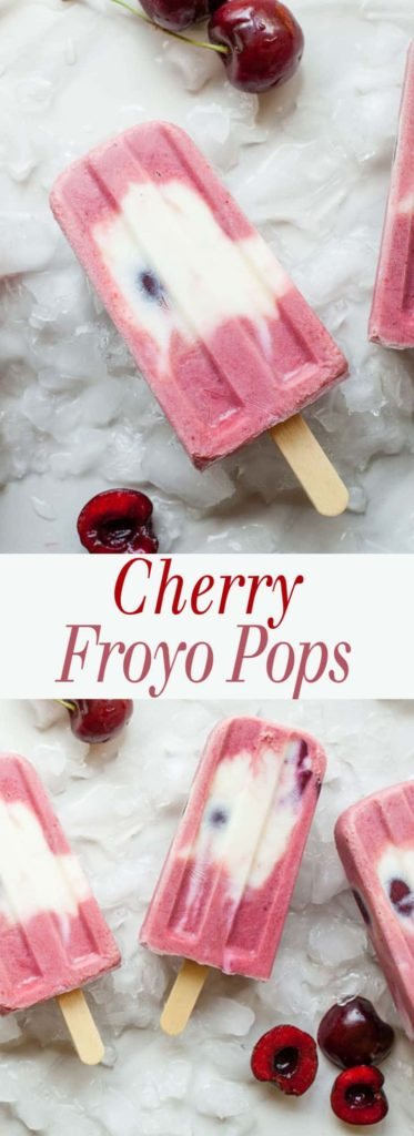 Cherry Froyo Popsicles - These frozen treats are healthy though to enjoy for breakfast! Frozen yogurt popsicles naturally sweetened with fruit and honey. My kids love these! Full recipe at theliveinkitchen.com