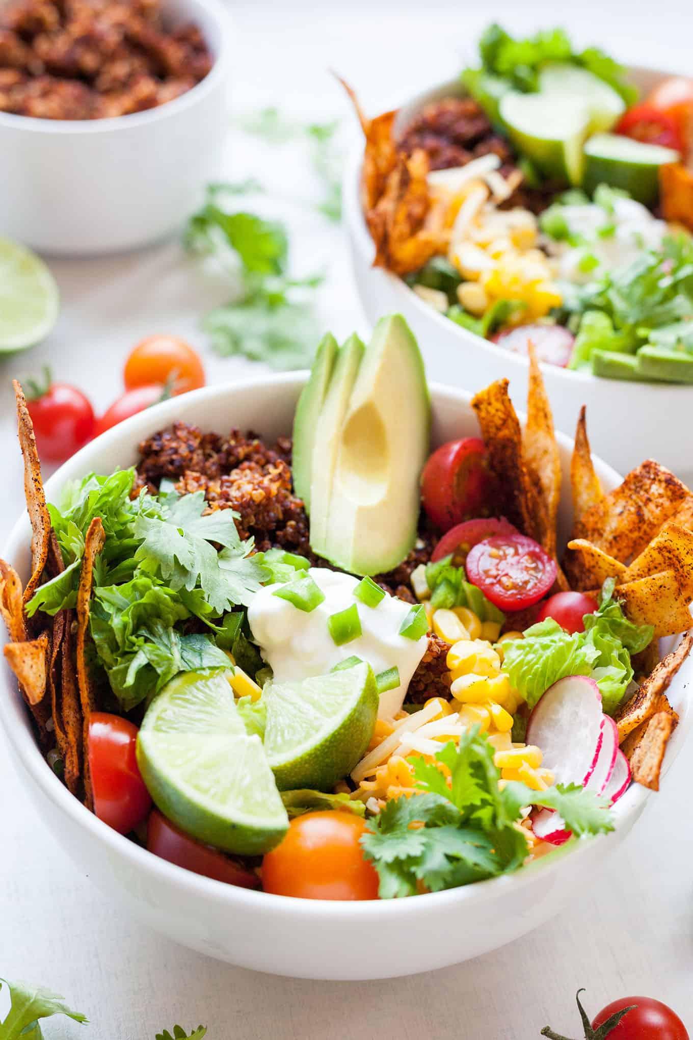 two bowls of quinoa taco salad