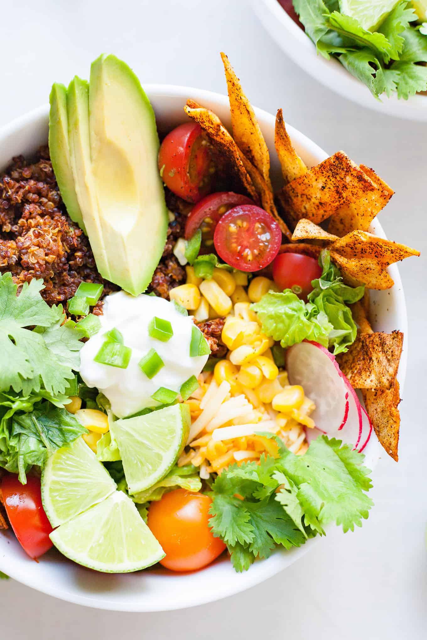 a bowl of vegetarian quinoa taco salad