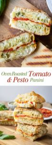 Oven Roasted Tomato and Pesto Panini - This is one of my favorite sandwiches! Fresh pesto, melty cheese, and those slow roasted tomatoes!! I can't get enough of this vegetarian sandwich. Full recipe at theliveinkitchen.com