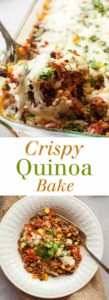 Crispy Quinoa Bake - Loads of veggies, beans, quinoa, and cheese in a healthy casserole full of Mexican flavors. theliveinkitchen.com @liveinkitchen