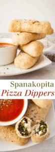 Spanakopita Pizza Dippers - Spinach and feta wrapped in pizza dough, baked to perfection, and dipped in marinara! So easy and delicious. Full recipe at theliveinkitchen.com @liveinkitchen #vegetarian