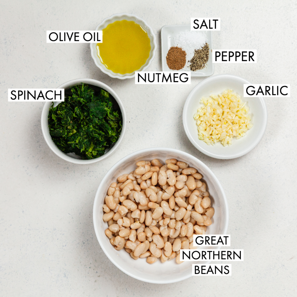 ingredients for spinach and bean recipe