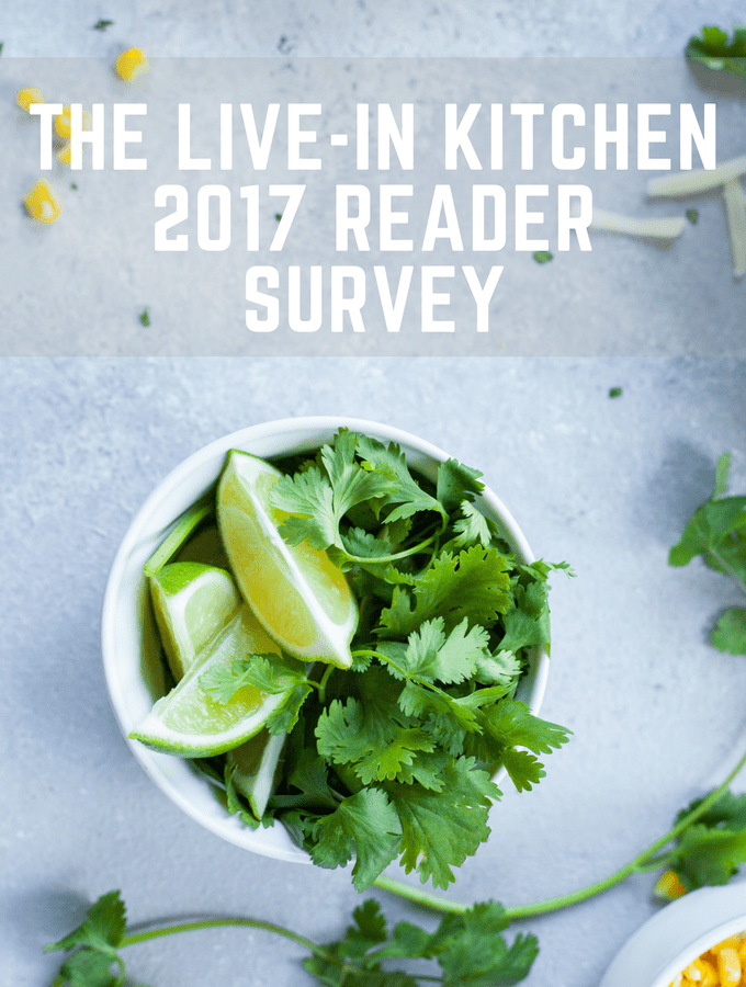 The Live-in Kitchen 2017 Reader Survey text with bowl of limes and cilantro