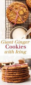 Giant Ginger Cookies with Icing - A huge iced ginger cookie that's richly spiced and melts in your mouth! Full recipe at theliveinkitchen.com @liveinkitchen