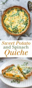 Sweet Potato and Spinach Quiche - An elegant yet easy dish for any time of day! Full recipe at theliveinkitchen.com @liveinkitchen #glutenfree #quiche #brunch