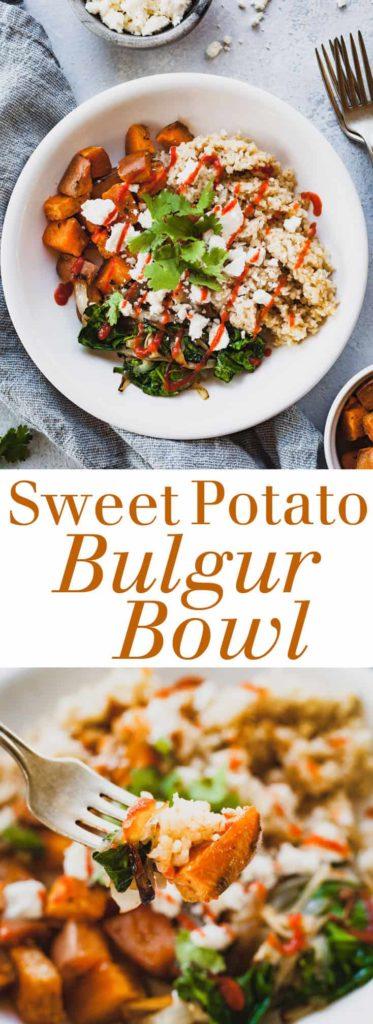 pinterest image for sweet potato bulgur bowl