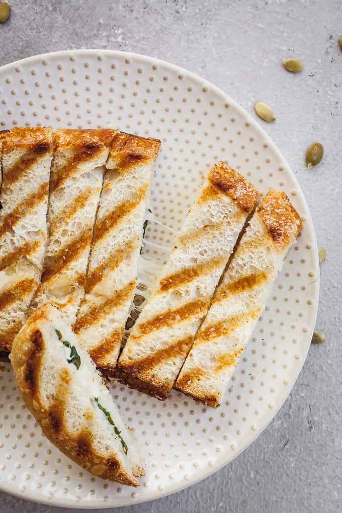 fontina grilled cheese dippers on a plate