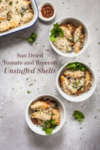 Sun Dried Tomato and Broccoli Unstuffed Shells - An easy stuffed shell recipe that skips the stuffing and goes straight for flavor! #pasta #stuffedshells #vegetarian #pastabake #sundriedtomato #broccoli