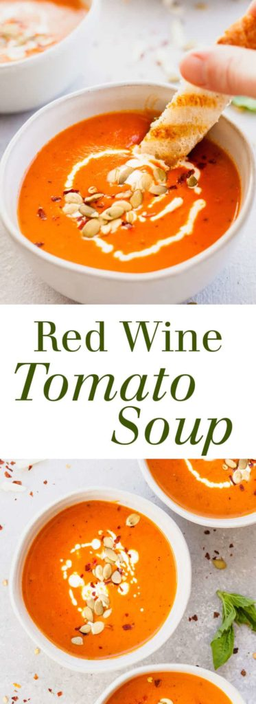Red Wine Tomato Soup with Fontina Grilled Cheese Dippers - A rich tomato soup that makes a flavorful yet light vegetarian dinner. Full recipe at theliveinkitchen.com @liveinkitchen #vegetarian #soup #tomatosoup #redwine #grilledcheese