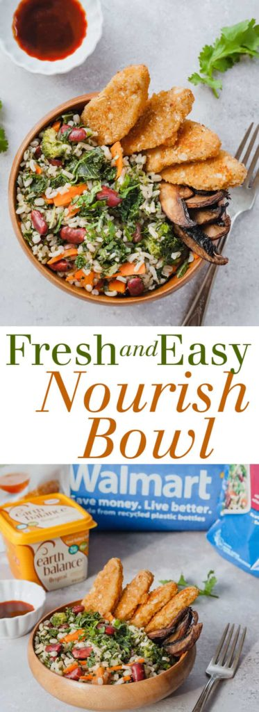 Fresh and Easy Nourish Bowl - A quick and easy plant-based meal idea using veggies, barley, and crispy meatless tenders. Full recipe at theliveinkitchen.com @liveinkitchen