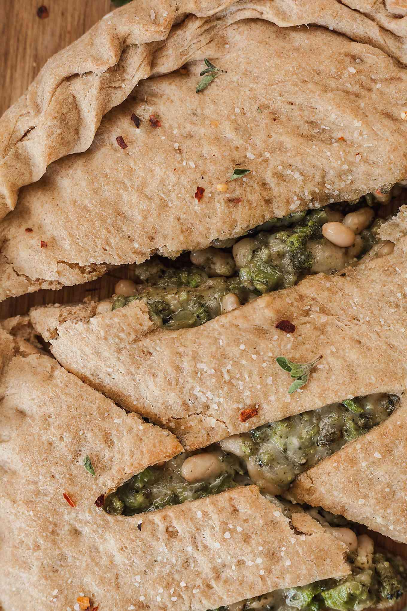 close up of vegetarian calzone