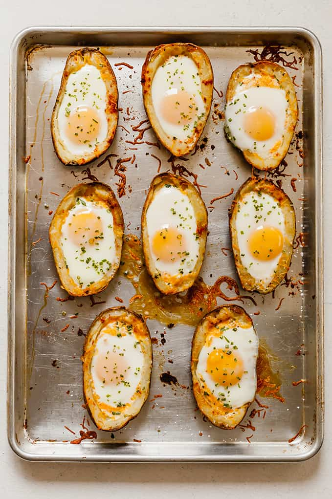 top view of potato egg boats on baking tray