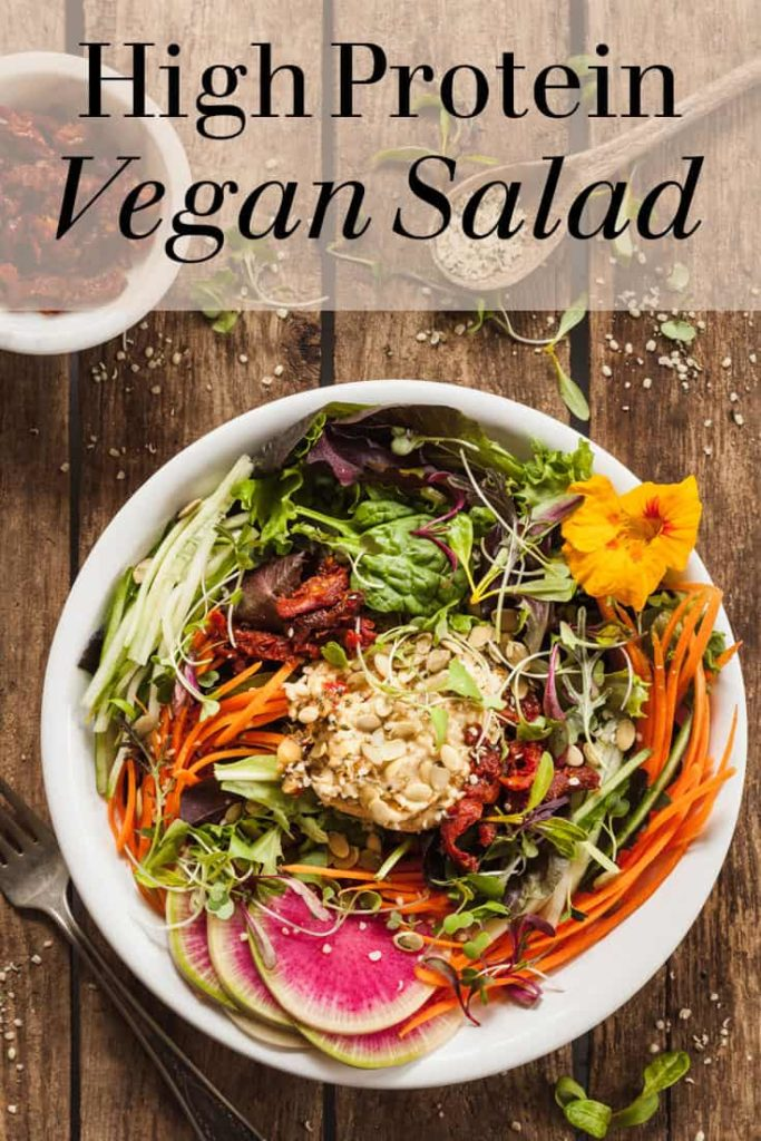High Protein Fresh Vegan Salad with Hummus - A hearty vegan salad with plenty of protein, flavor, and texture! #vegan #salad #protein #hummus #veggies
