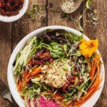 High Protein Fresh Vegan Salad with Hummus - A hearty vegan salad with plenty of protein, flavor, and texture! #vegan #salad #protein #hummus #veggies