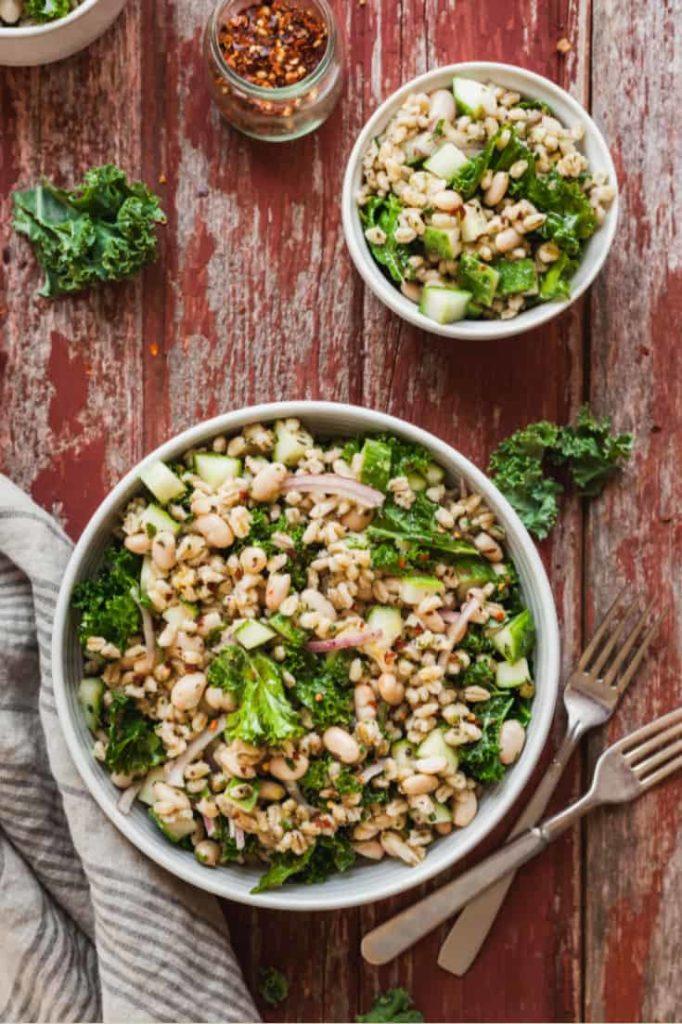 Vegan Potluck Barley Salad - A high protein, hearty salad perfect for summer! #vegan #vegetarian #salad #kale #beans #barley #nomayo