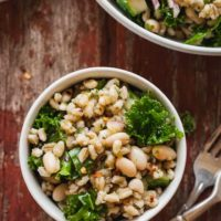 Vegan Potluck Barley Salad - Don't go hungry at your next summer barbecue! This high protein salad is festive and delicious. #vegan #salad #barley #kale #potluck #barbecue #summer #memorialday
