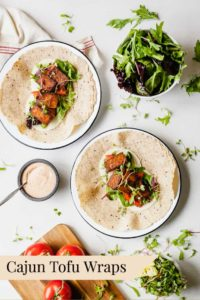 Cajun Tofu Wraps - A vegetarian lunch idea that's full of flavor! #vegetarian #tofu #tofuwraps #easy #healthy #lunchideas #vegetarianlunchideas