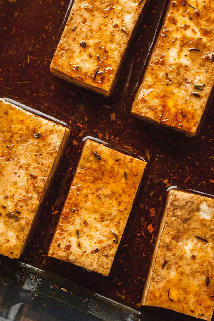 image of tofu marinating in dish