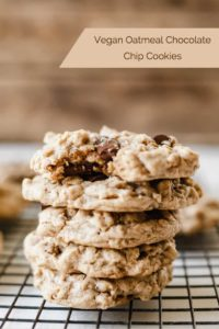 pinterest image for vegan oatmeal chocolate chip cookies