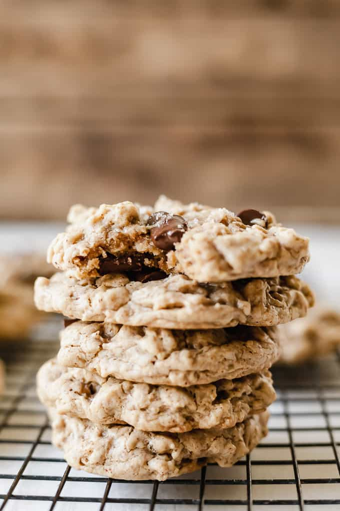 image of stacked oatmeal cookies on cooling rack