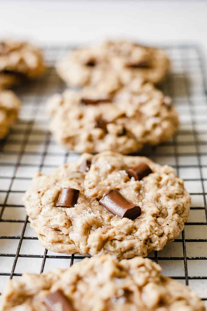 Vegan Oatmeal Chocolate Chip Cookies - An easy, healthy vegan cookie recipe. Naturally sweetened with no egg replacers. #nochia #noflax #maplesyrup #coconutoil #vegan #cookies #baking #dessertrecipes