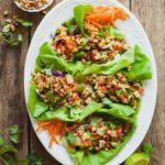 Healthy Vegan Lettuce Wraps - An easy vegan dinner idea that's full of protein and crunch! #healthy #vegan #lettucewraps #dinnerideas #vegandinnerideas #veganlunchideas