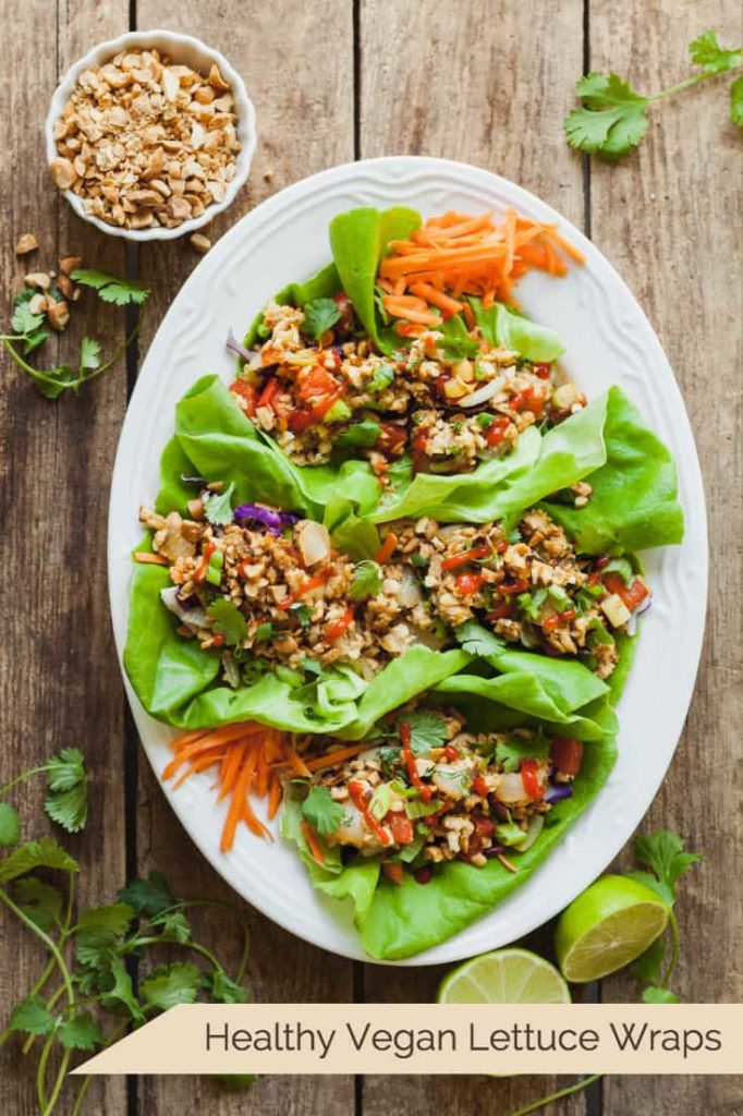 Healthy Vegan Lettuce Wraps - An easy vegan dinner idea that's full of protein and crunch! #healthy #vegan #lettucewraps #dinnerideas #vegandinnerideas #veganlunchideas