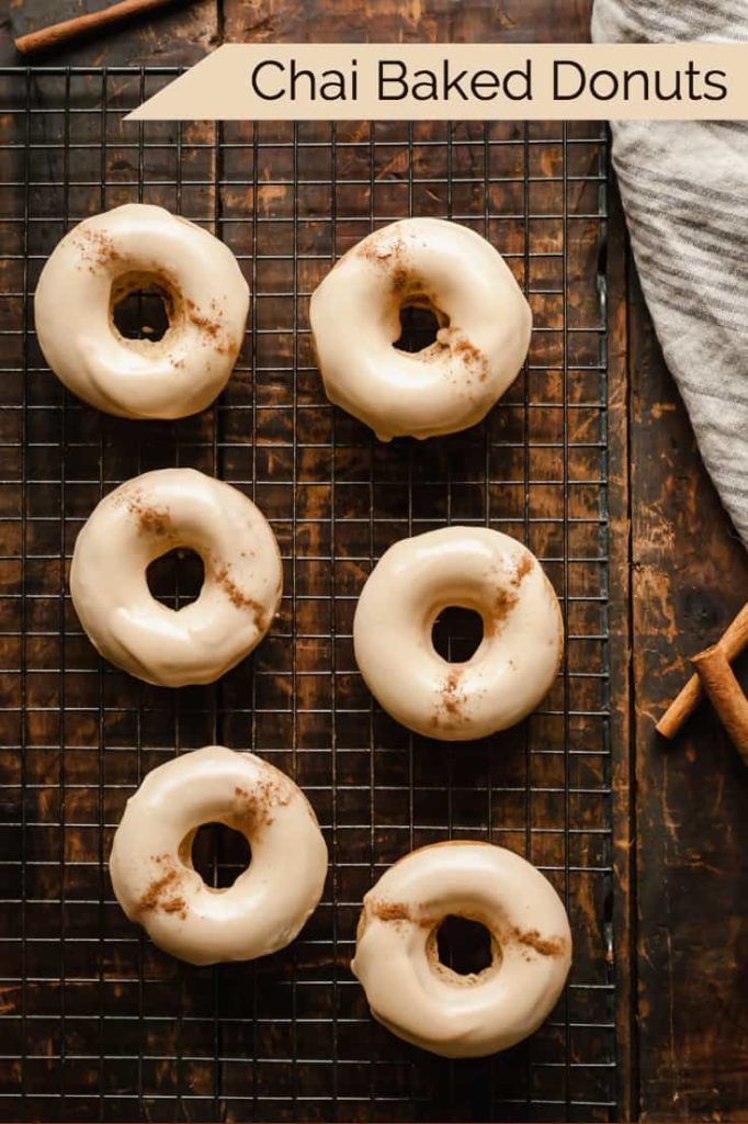 Chai Baked Donuts - A spicy, sweet breakfast treat that is perfect for fall! #donuts #doughnuts #chai #bakeddonuts #treats #breakfast