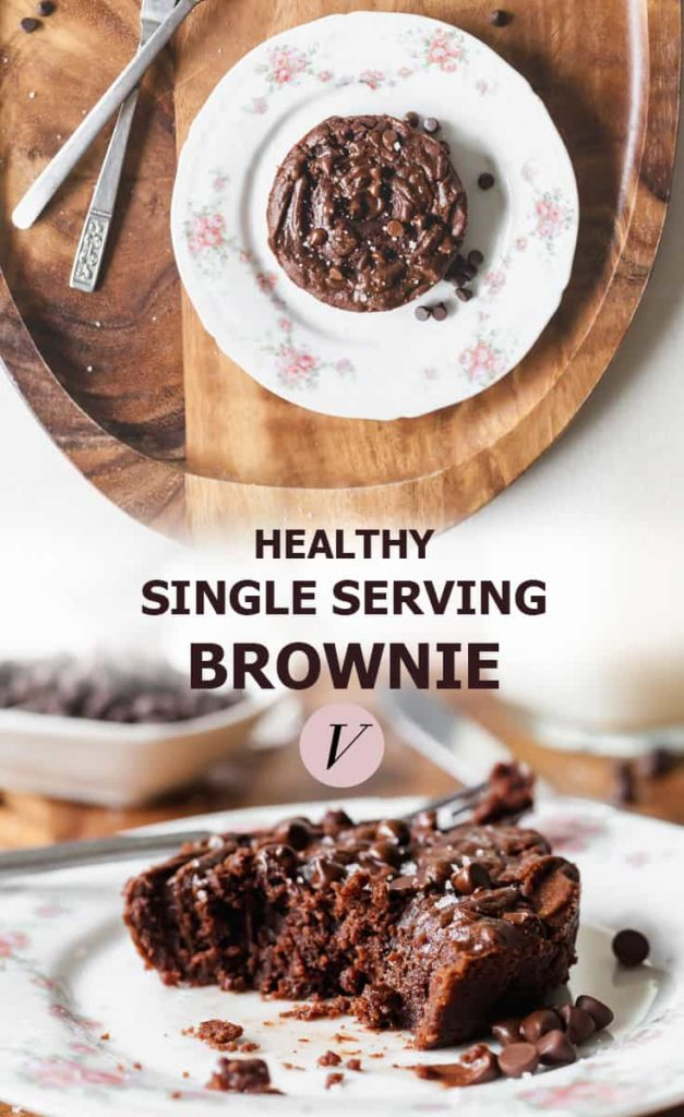Vegan Single Serving Brownie - A healthy single serving brownie, naturally sweetened, and full of chocolate! #chocolate #dessert #vegan #singleserving #brownie #baking
